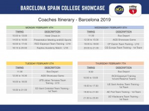 2019 Barcelona Showcase Schedule